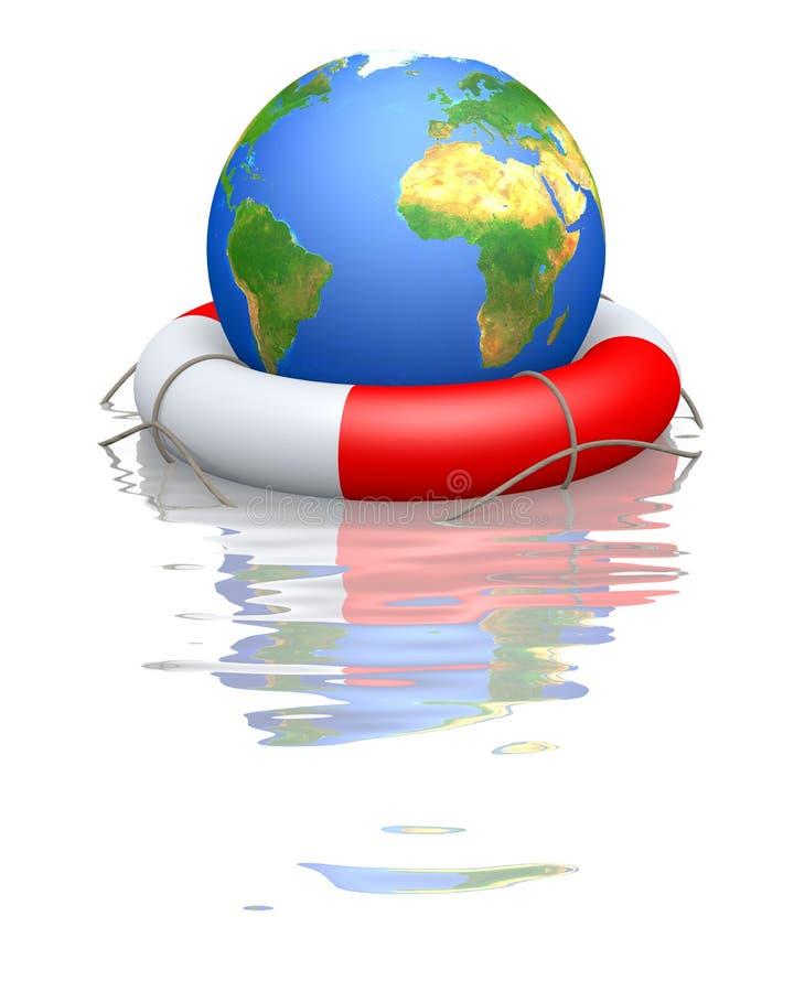 Globe and life buoy royalty free illustration