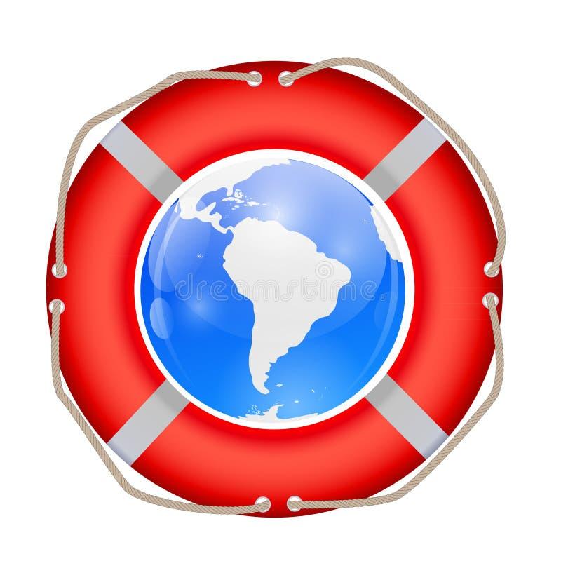Globe in Lifebuoy. Vector Illustration. vector illustration