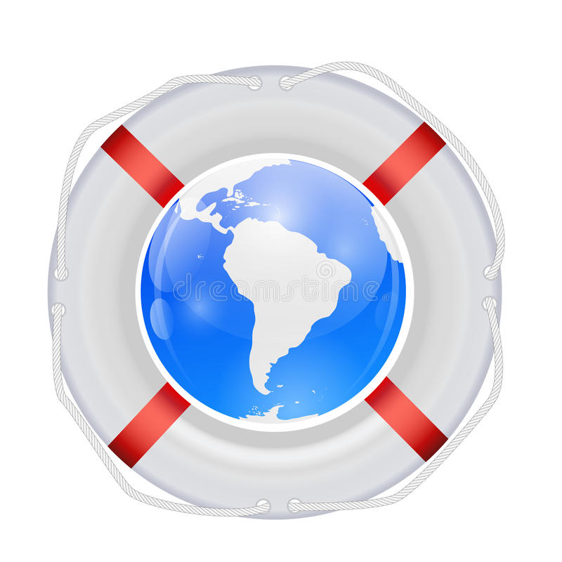 Globe in Lifebuoy. Vector Illustration. royalty free illustration