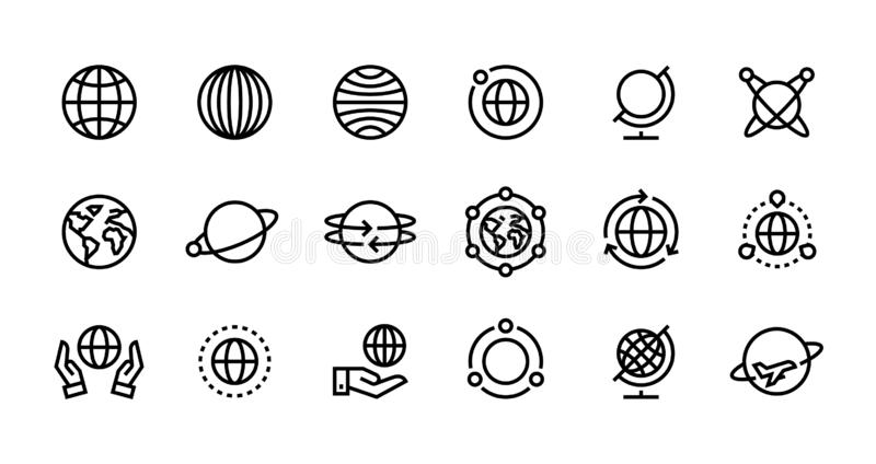 Globe line icons. World earth outline symbols for web interfaces, planet country map travel design template. Vector vector illustration