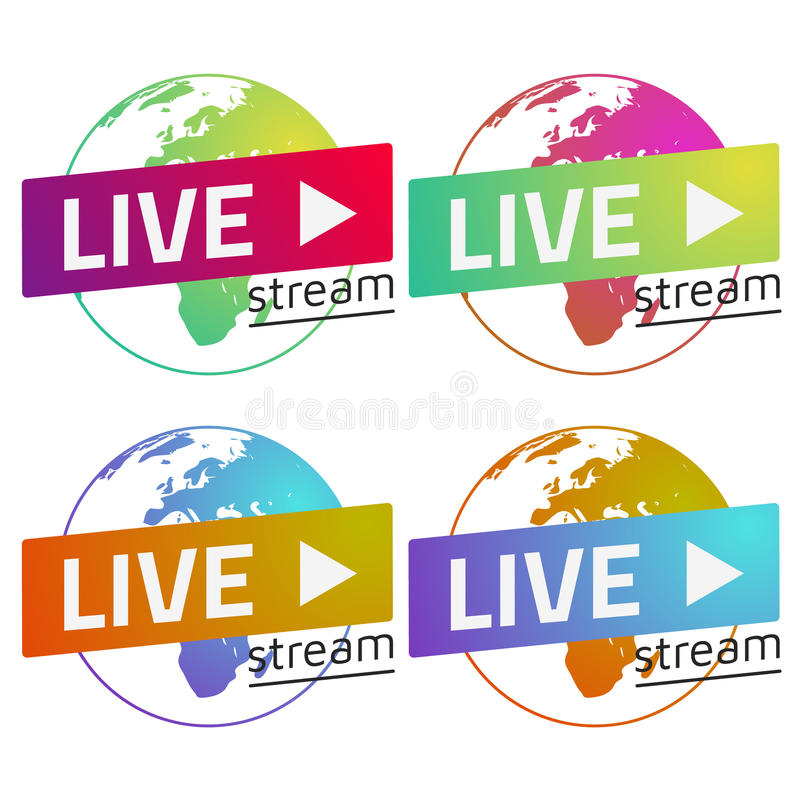 Globe Live stream gradients set green, red, blue, orange. Eps10. Vector. Transparent background stock illustration