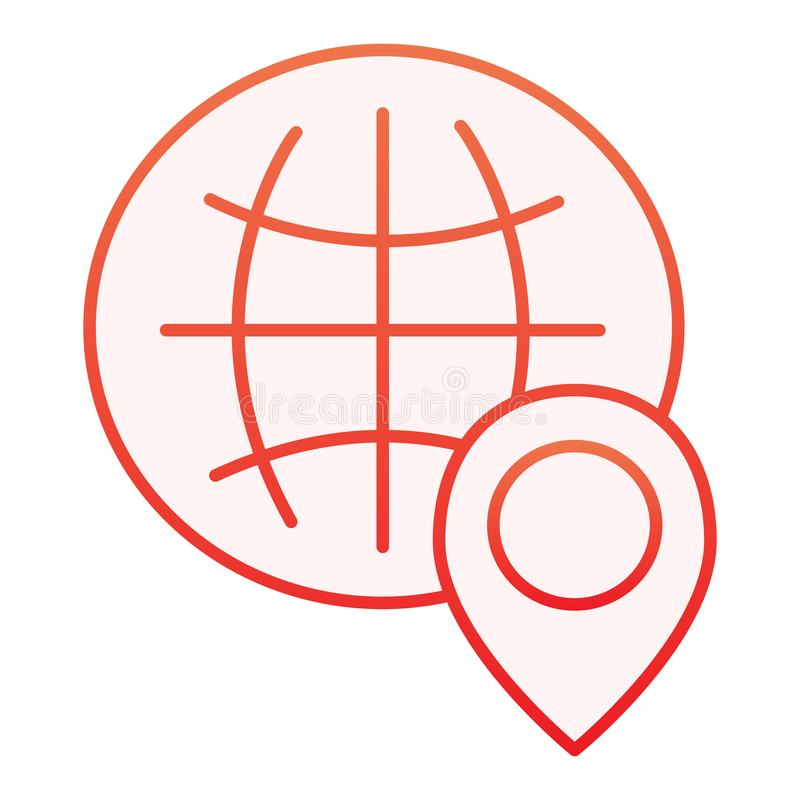 Globe location flat icon. World map with location pin red icons in trendy flat style. Planet navigation gradient style royalty free illustration