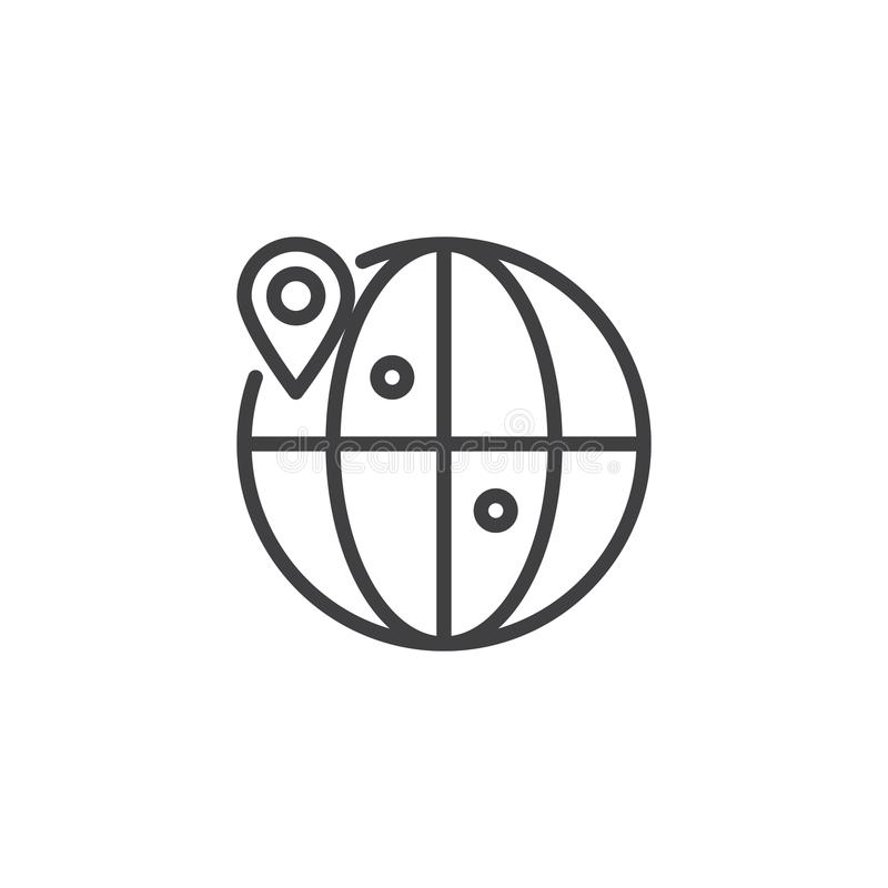 Globe location outline icon royalty free illustration