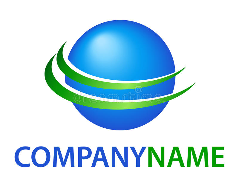 Globe logo. Isolated vector 3D green blue planet globe symbol with orbit way around with company name lettering on white background. Ideal for corporate logo