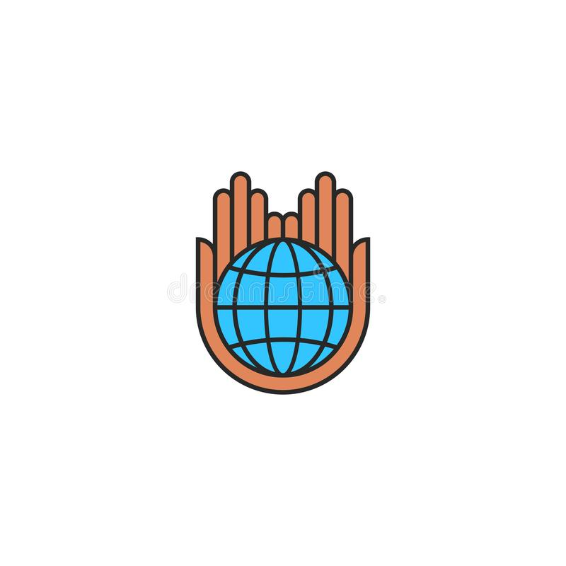 Globe logo saving planet earth concept, care nature eco icon flat style, human hands hold a blue planet stock illustration