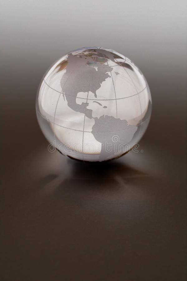 Globe Made of Crystal. Featuring the Americas set upon a neutral, muted background stock images