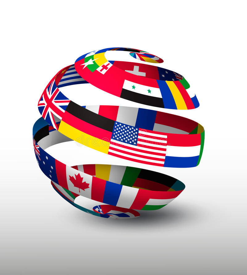Free Globe Made Of A Strip Of Flags. Royalty Free Stock Photo - 55516775