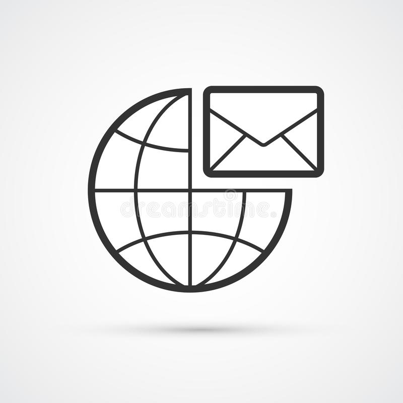 Email Icon In Black Circle. E-mail Symbol Stock Vector