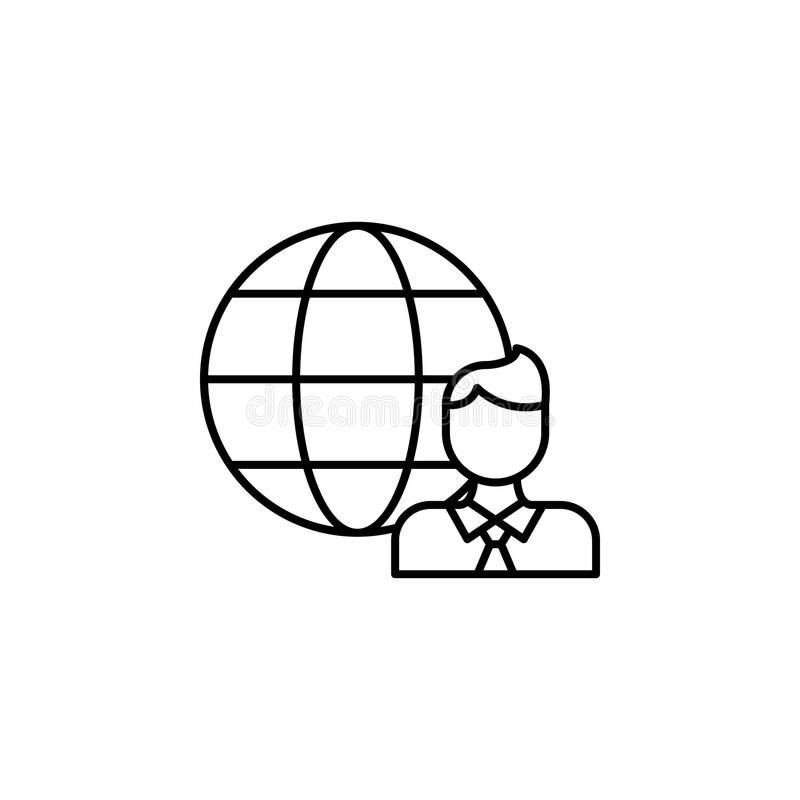 Globe and man line icon. Element of head hunting icon for mobile concept and web apps. Thin line globe and man icon can be used fo. R web and mobile. Premium vector illustration