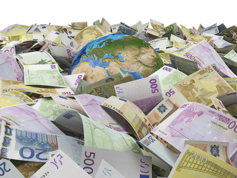Globe and many euro bills. Earth and many euro bills. Elements of this image furnished by NASA stock image