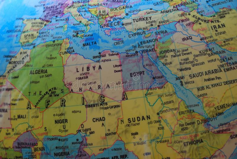 Globe map of North Africa and the Middle East stock photography