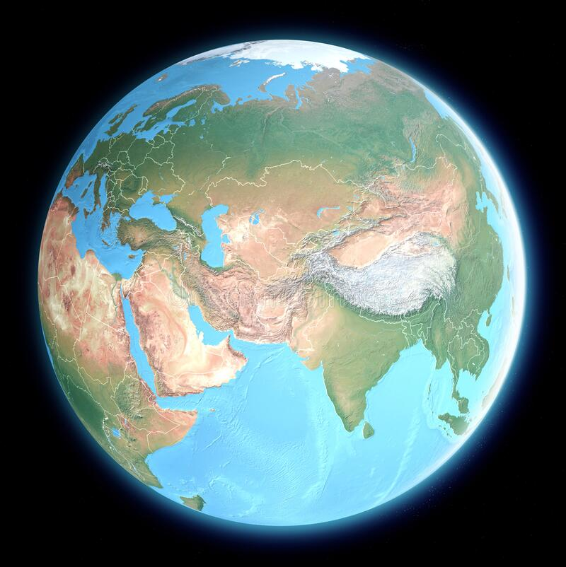 Free Globe Map Of Middle East And Asia, Satellite View, Geographical Map, Physics. Cartography, Relief Atlas. Royalty Free Stock Photo - 173841565