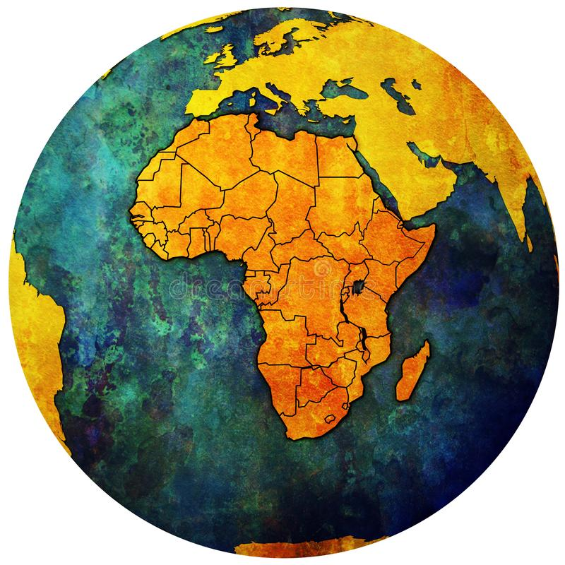 Globe map with political map of africa stock photo