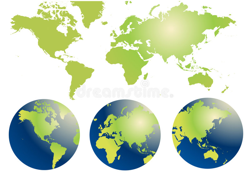 Globe and Map of the World. Vector illustration royalty free illustration
