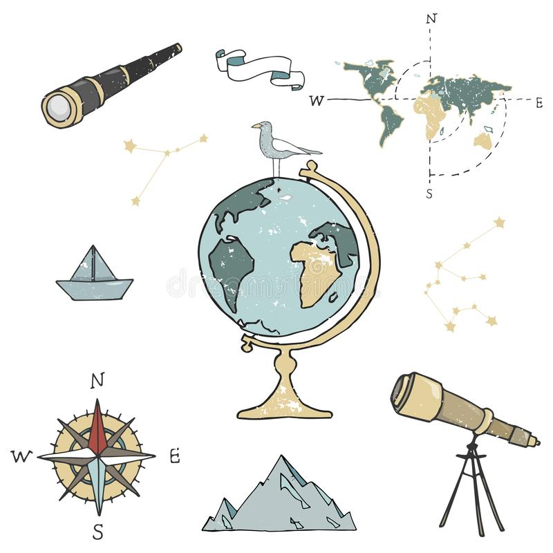 Globe, maps, compass and others school subjects. School and study subjects. Geography science vector illustration. Education and stock illustration