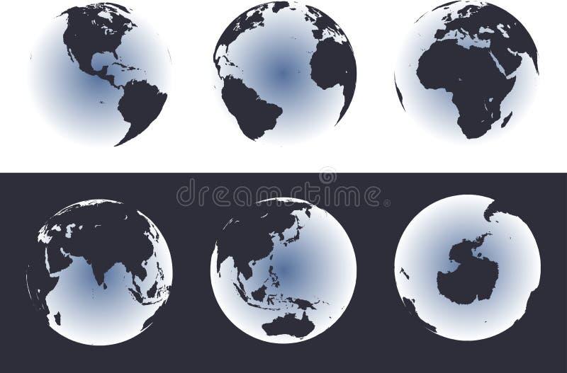 globe mapy świata świeciło ilustracji