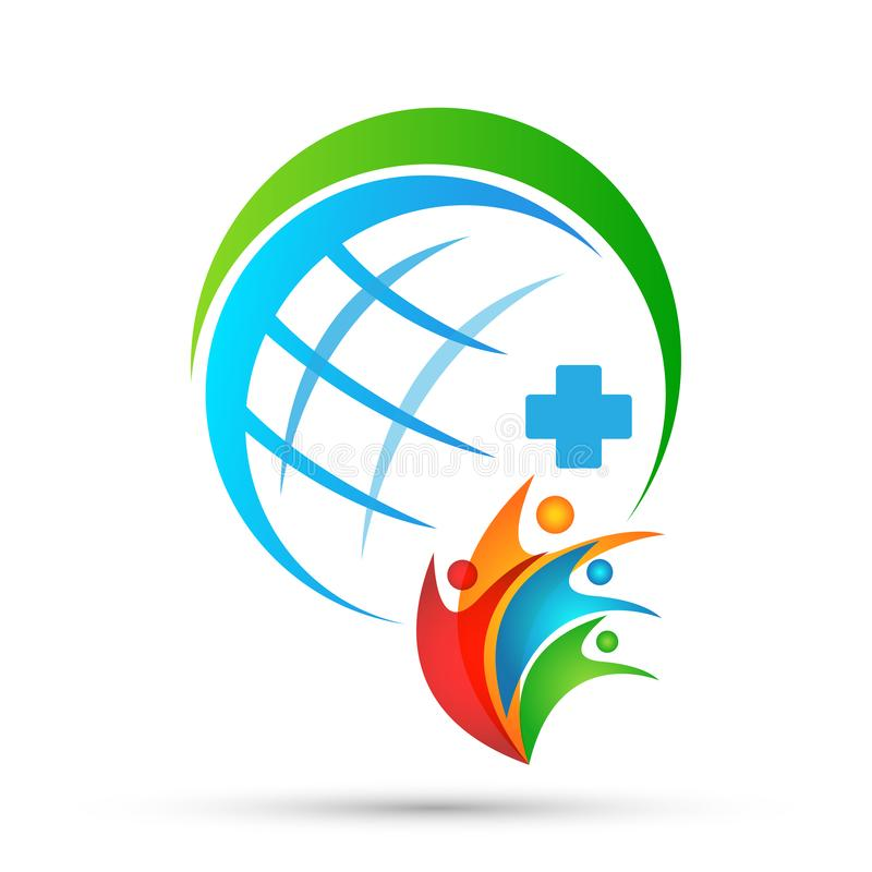 Globe medical health care cross people healthy life care logo design icon on white background stock illustration