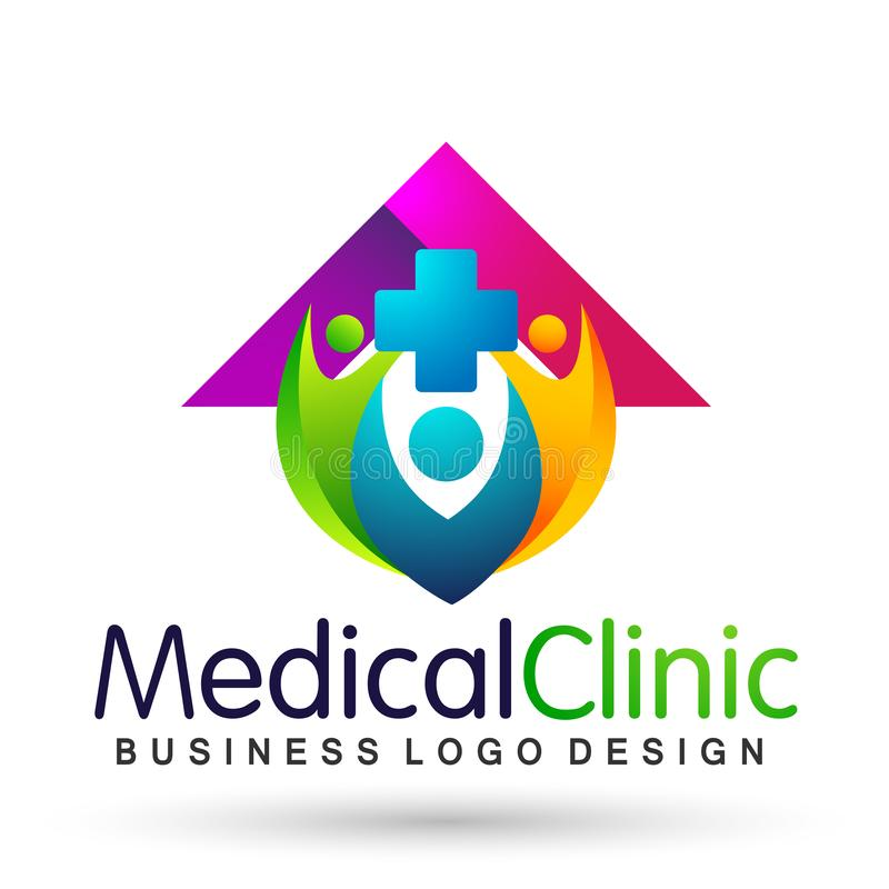 Medical health care clinic cross people home house healthy life care logo design icon on white background. Globe medical health care home house cross people stock illustration