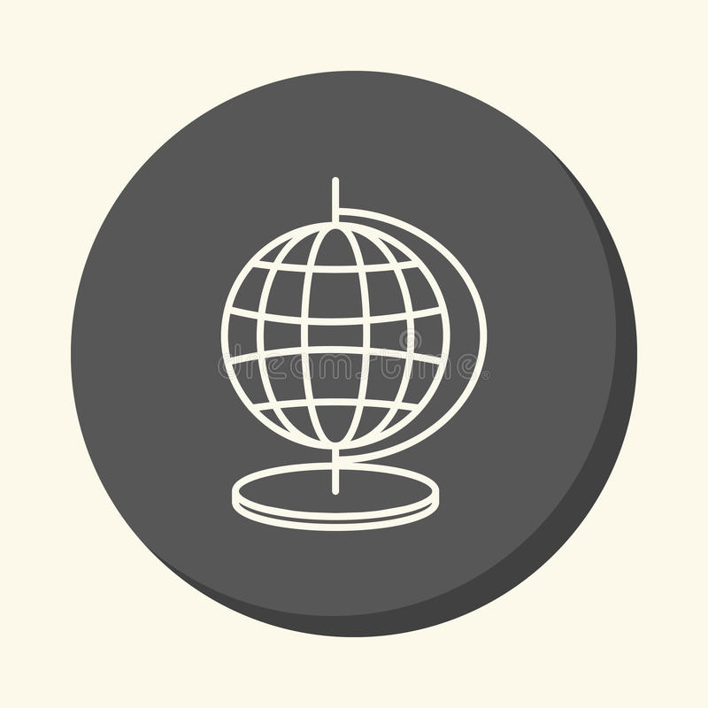 Globe with meridians and parallels, round linear icon with the illusion of volume, an element for your school site or bookl. Globe with meridians and parallels royalty free illustration