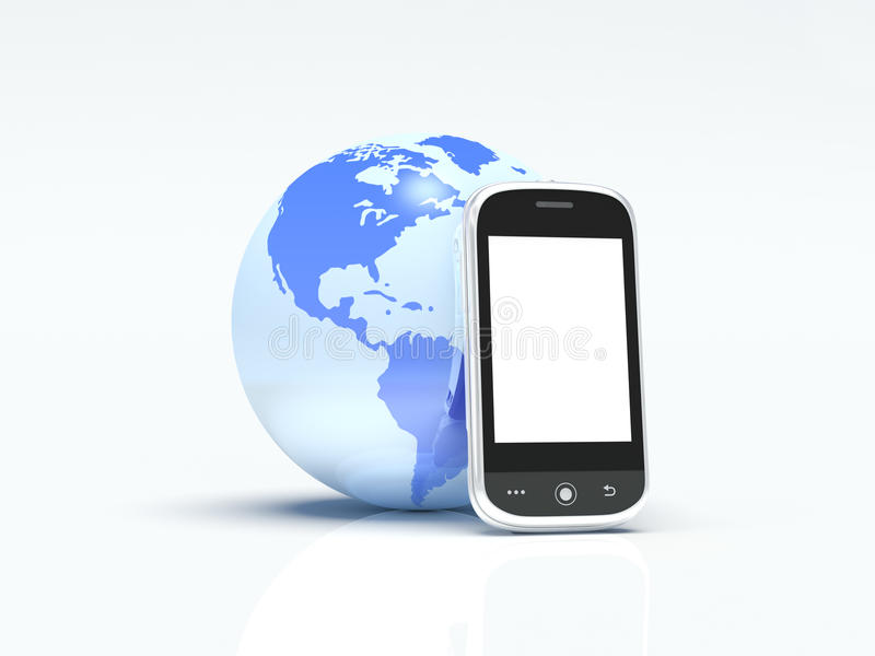 Globe and mobile phone isolated on white. 3d