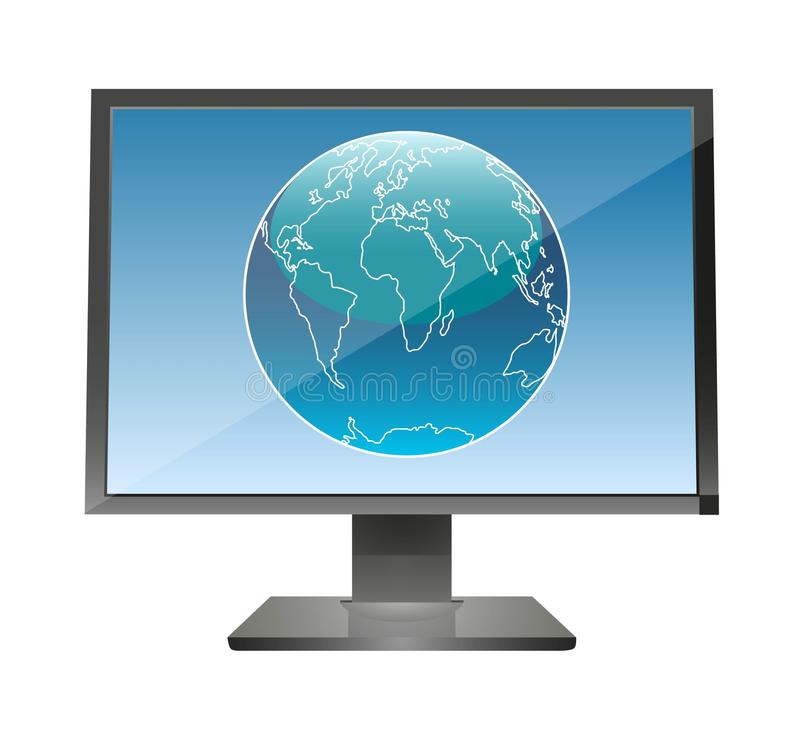 Globe in a monitor royalty free illustration