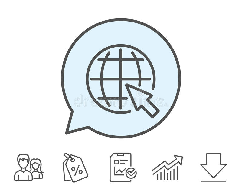 Globe with mouse cursor line icon. World sign. vector illustration