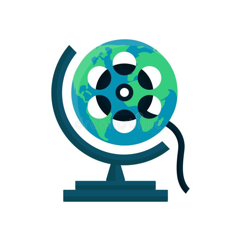 Globe movie, World cinema festival, film vector illustration