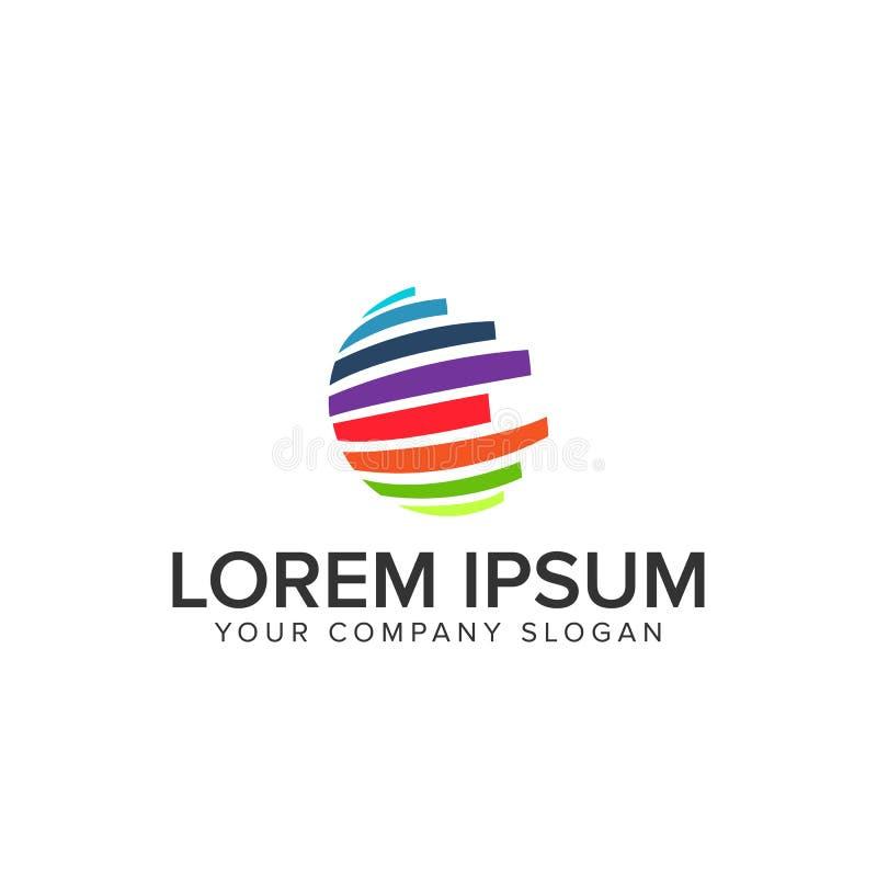 Globe multicolor logo. Design concept stock illustration