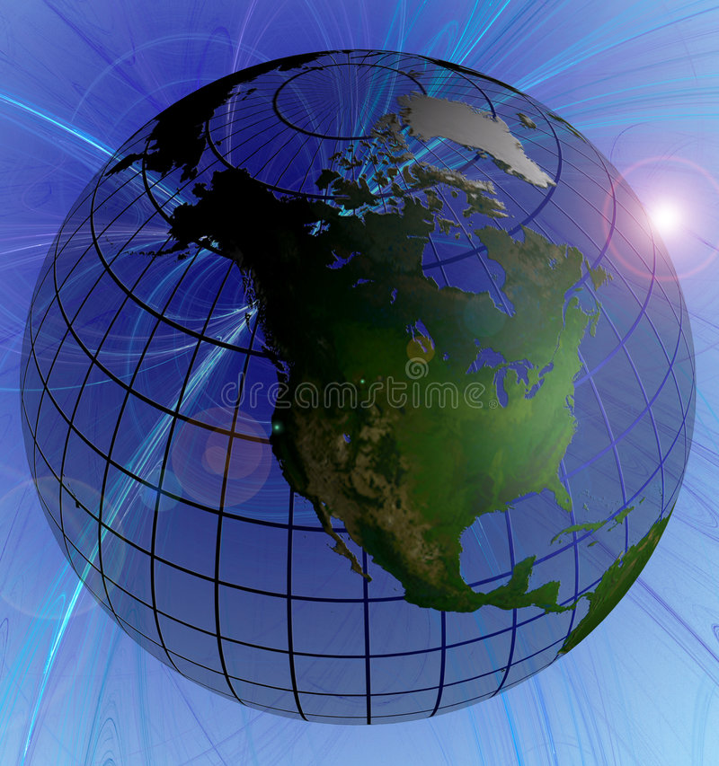Download Globe Natural Color North America Focus  On Swirl Background Stock Illustration - Image: 1087387