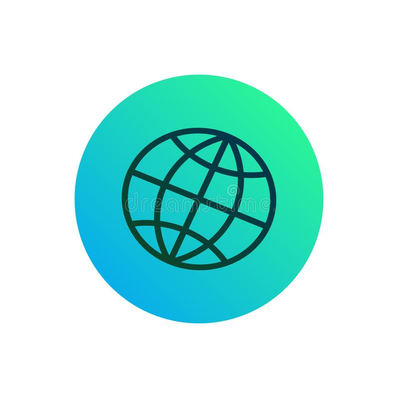 Globe net icon or button. Earth  silhouette on round gradient background royalty free illustration