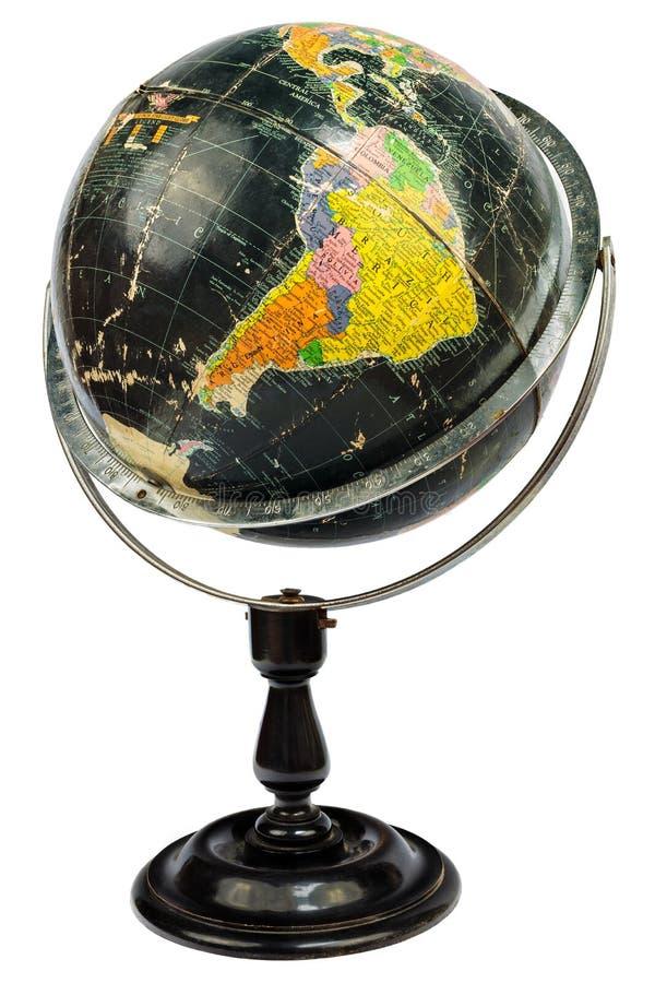 Globe noir antique d'isolement sur le blanc image libre de droits