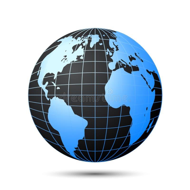 Globe noir avec les continents bleus - vecteur illustration libre de droits