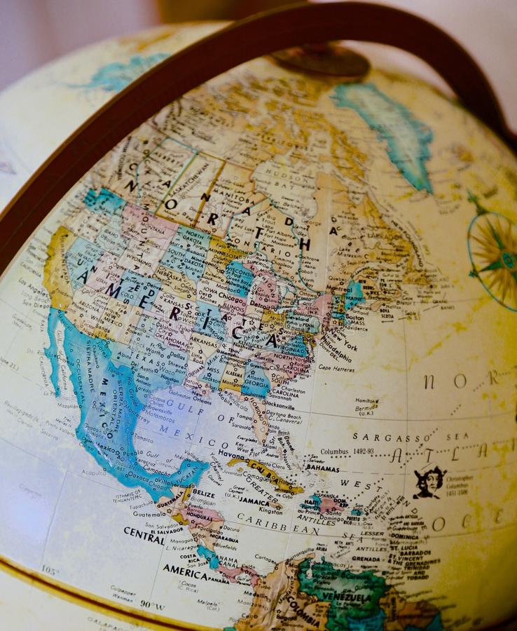 Globe North America. Portion of the globe showing North America stock photography