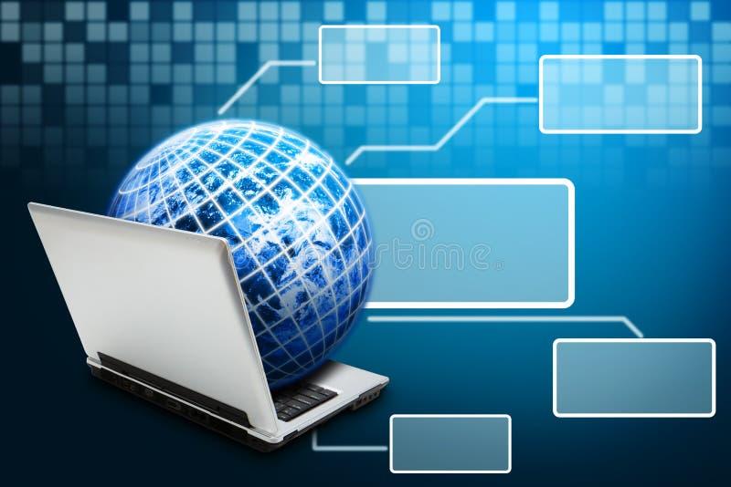 Download Globe On Notebook And Windows Stock Illustration - Illustration: 26633655
