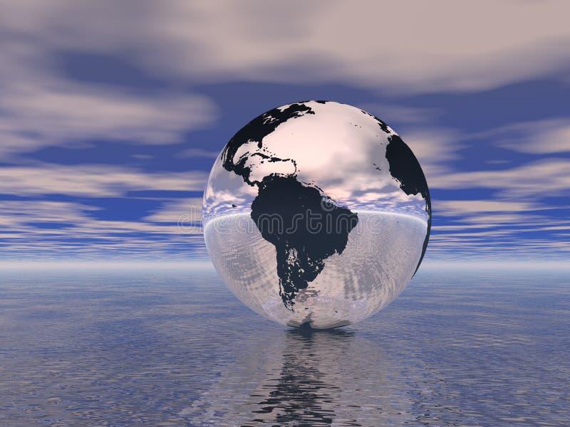 Download Globe in ocean stock illustration. Illustration of pacific - 6974222