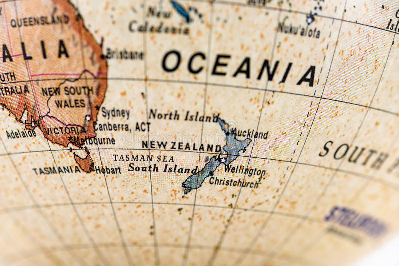 Globe oceania stock photo image of life learning still 55912198 close up of new zealand in the colorful world map globe gumiabroncs Image collections