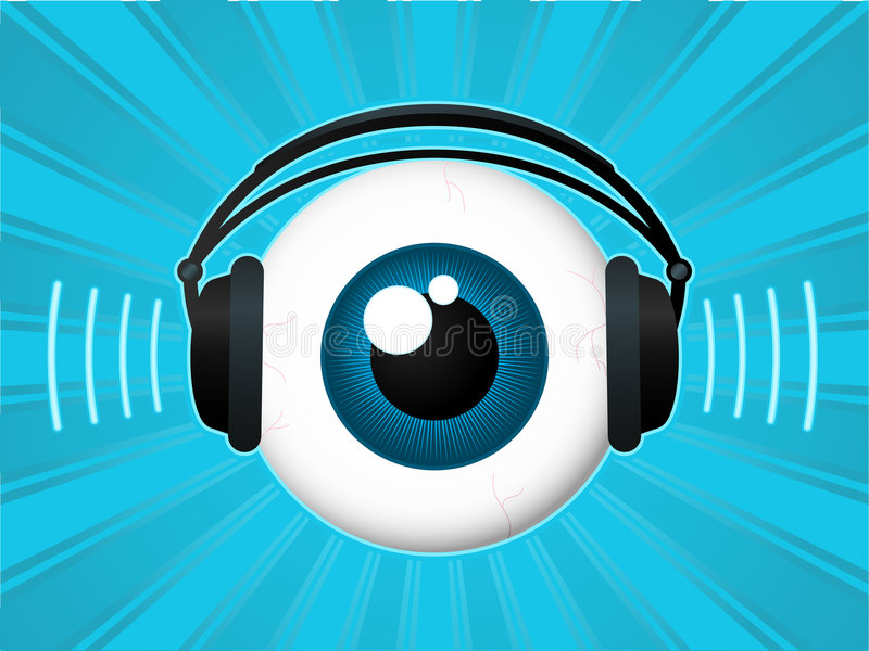 Globe oculaire avec des écouteurs illustration stock
