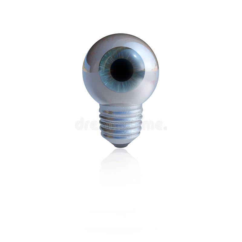 Globe oculaire bleu dans une vis d'ampoule photos libres de droits