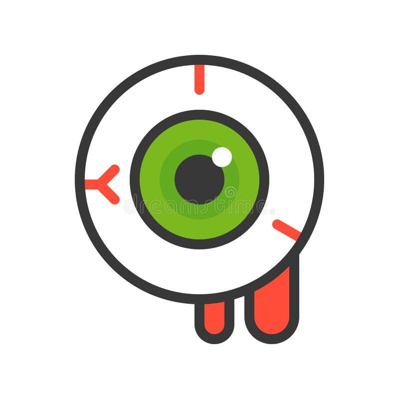 Globe oculaire ensanglanté, course editable d'icône de vecteur de Halloween illustration libre de droits