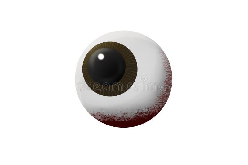 Globe oculaire ensanglanté sur la sélection blanche de fond et de chemins illustration de vecteur