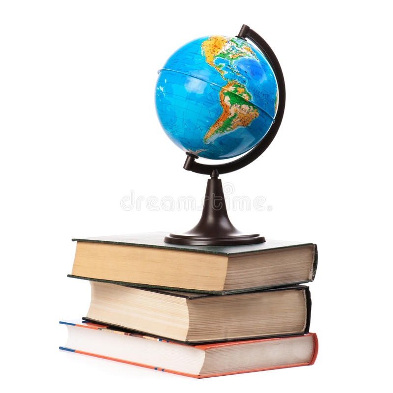Download Globe On Old Books Isolated Stock Image - Image of large, concept: 26377495