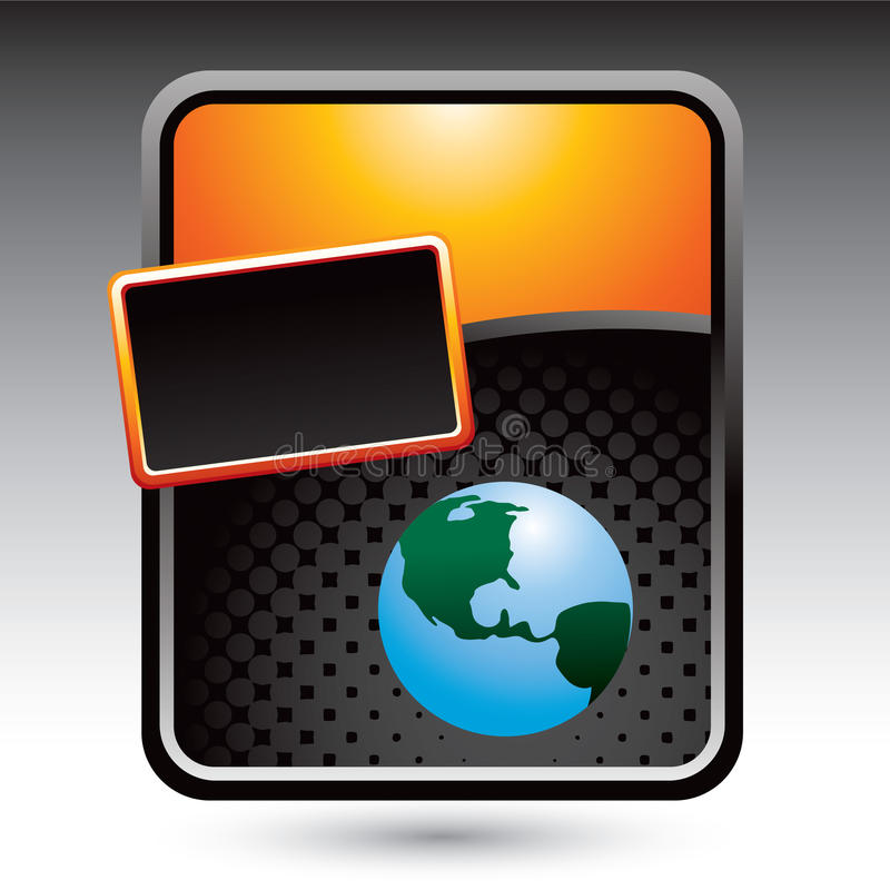 Globe on orange stylized template vector illustration