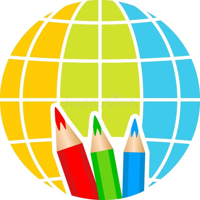 Globe pencil logo stock illustration