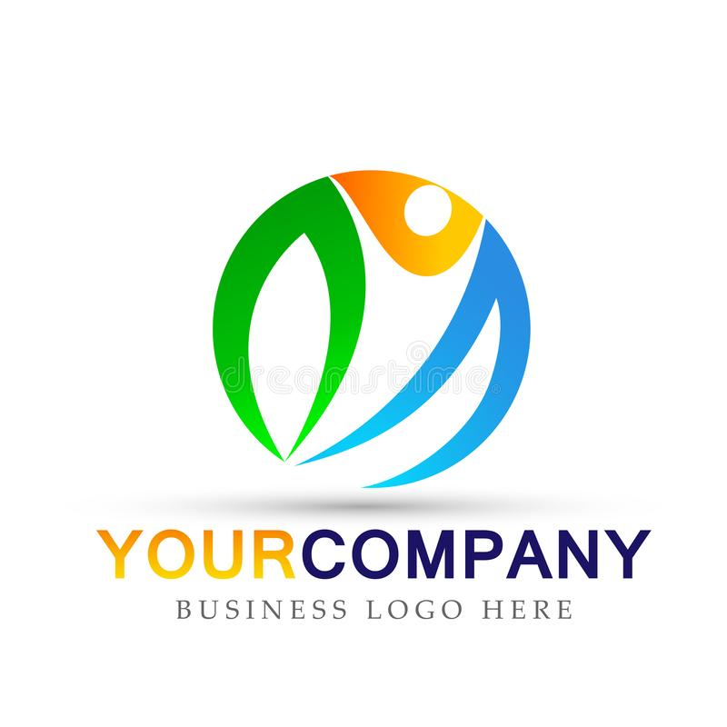 Globe People man for business company ative people logo icon on white background vector illustration