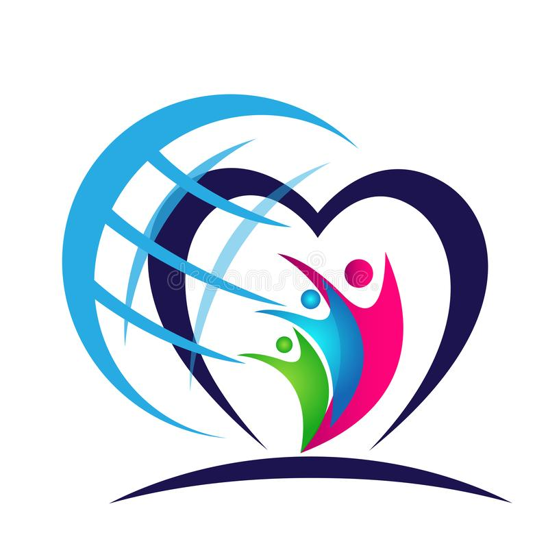 Globe People union in heart family care logo icon winning happiness together team work success wellness icon on white background. Globe People union in heart stock illustration