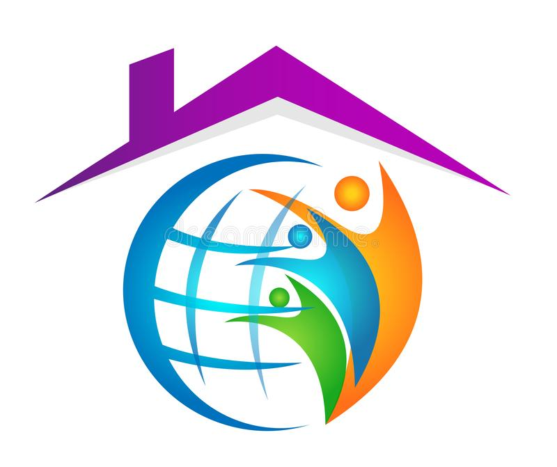 Globe People union in home house family care logo icon winning happiness together team work success wellness on white background. In ai10 illustrations stock illustration