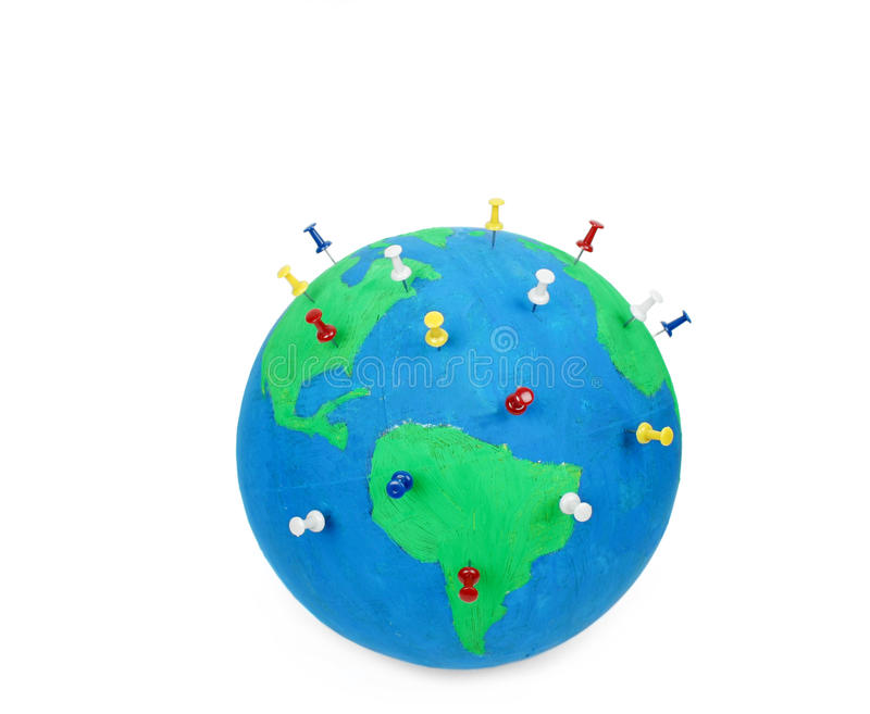 Download Globe with pins stock image. Image of environment, cartography - 19105361