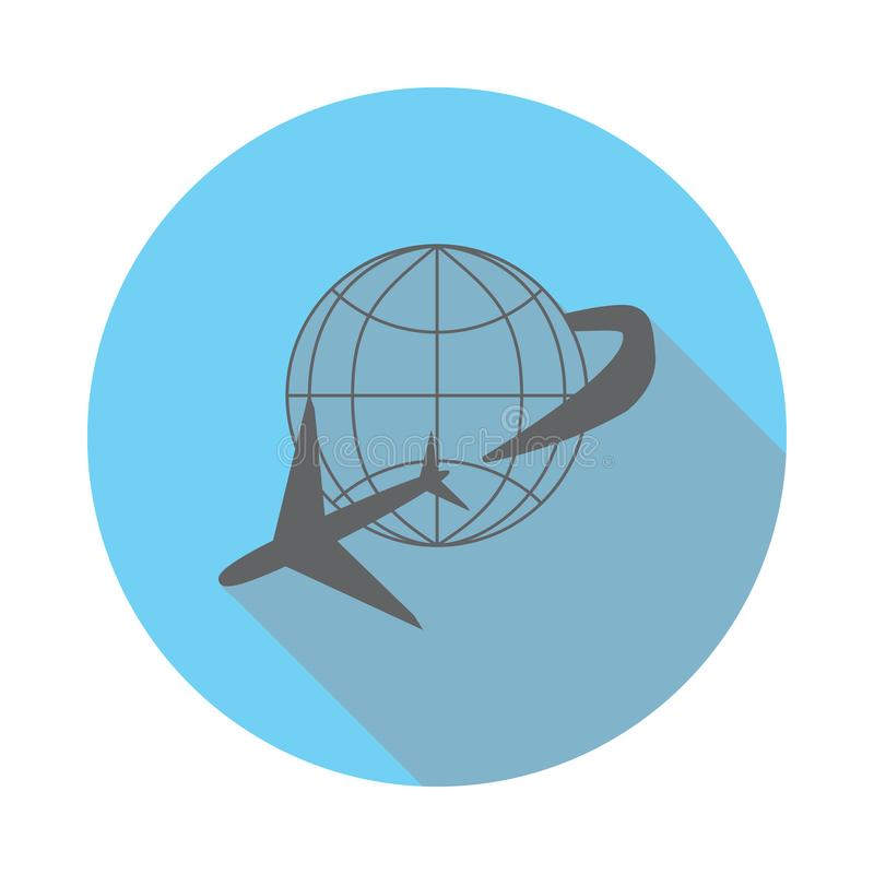 Globe and plane travel icon. Elements of airport in flat blue colored icon. Premium quality graphic design icon. Simple icon for w stock illustration