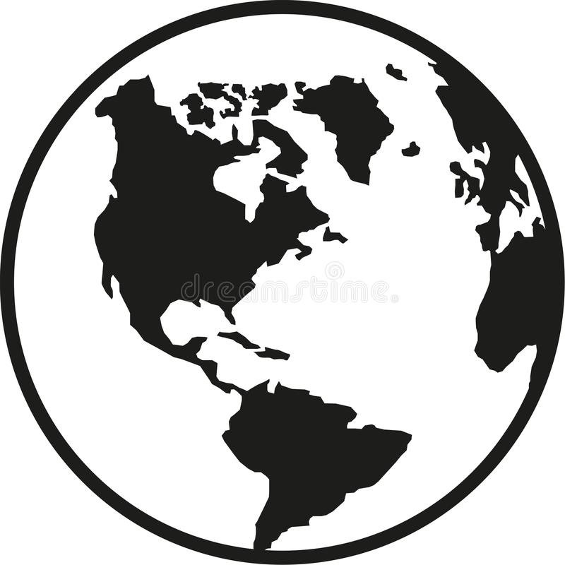 Globe planet earth america south and north stock illustration