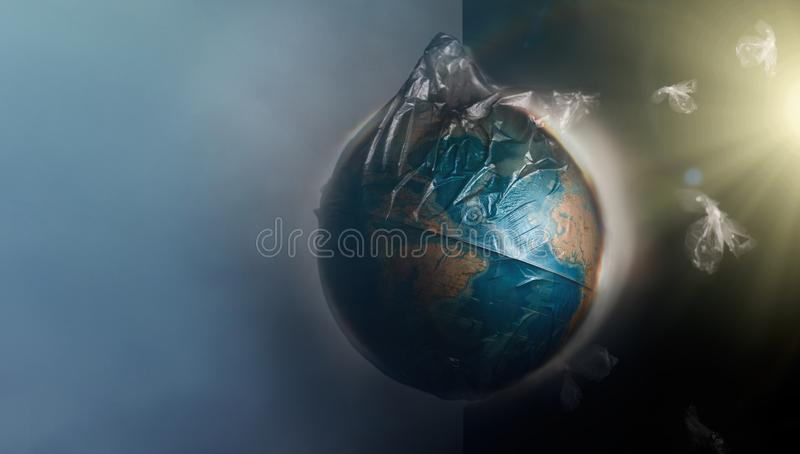 Globe of planet Earth dressed in a garbage plastic bag. Fly around the pieces of broken plastic. The concept of land pollution and royalty free illustration